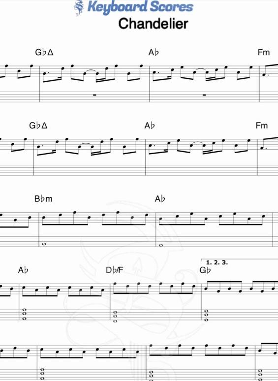 Chandelier - Sia - Piano & Keyboard Scores